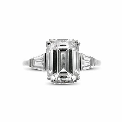 Emerald Cut & Tapered Baguette Cut Engagement  Ring 3.01ct HVVS2